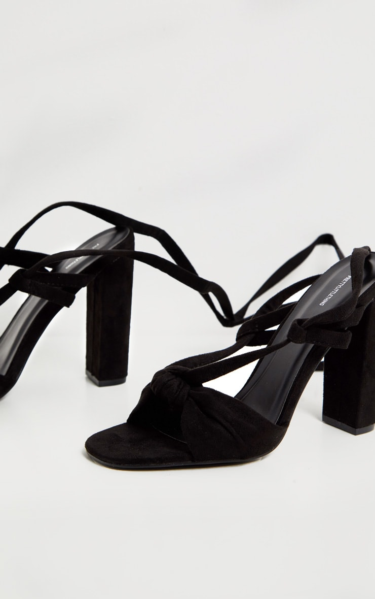 Black Knot Lace Up Block Heel Sandal 4