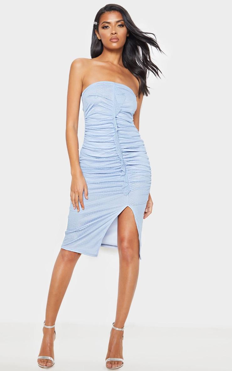 d7d8b451932e Dusty Blue Dobby Mesh Bandeau Ruched Midi Dress | PrettyLittleThing