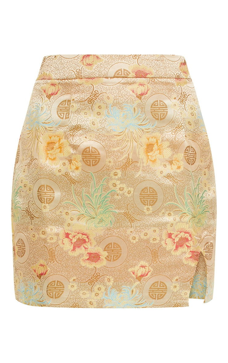 Gold Oriental Jacquard Split Mini Skirt  3