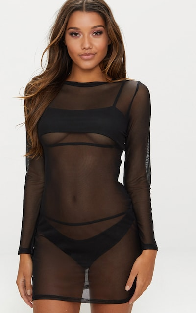 Black Mesh Beach Bodycon Dress