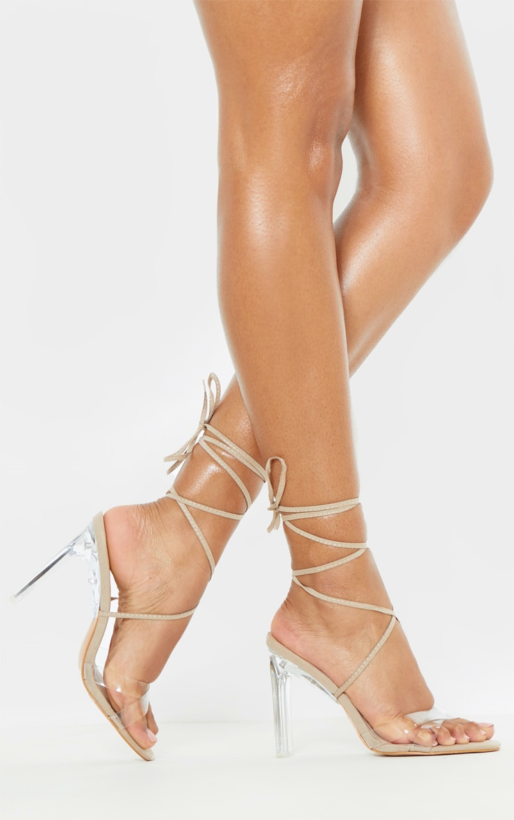 Nude Clear Heel Ankle Tie Sandal  Shoes  Prettylittlething-4372