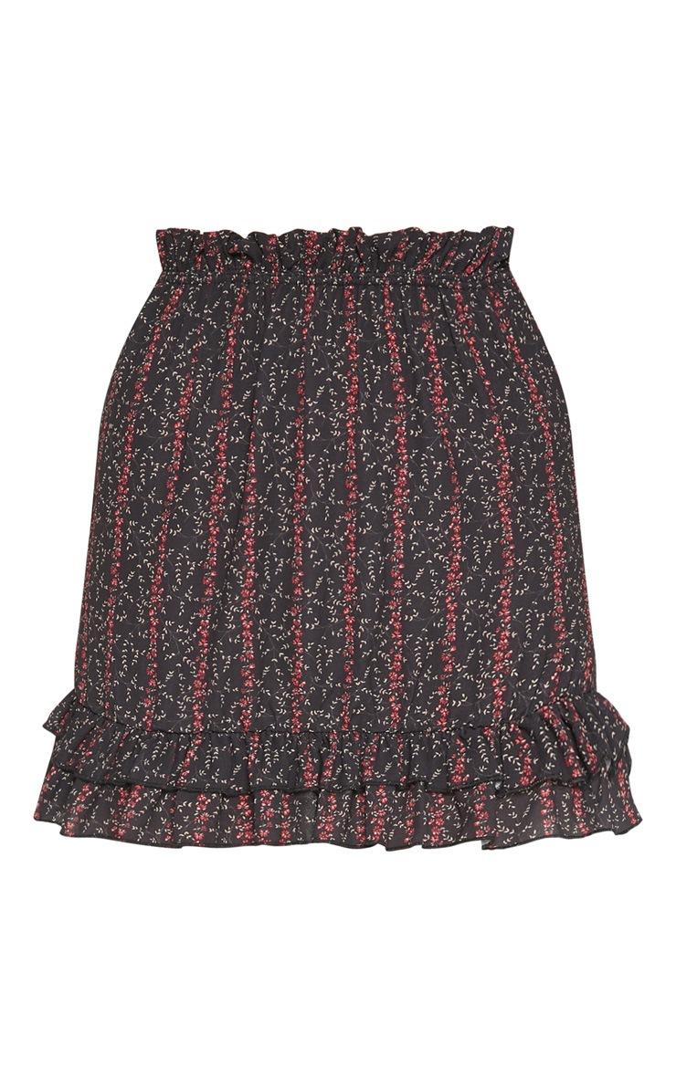 Black Crepe Floral Frill Detail Skirt 3