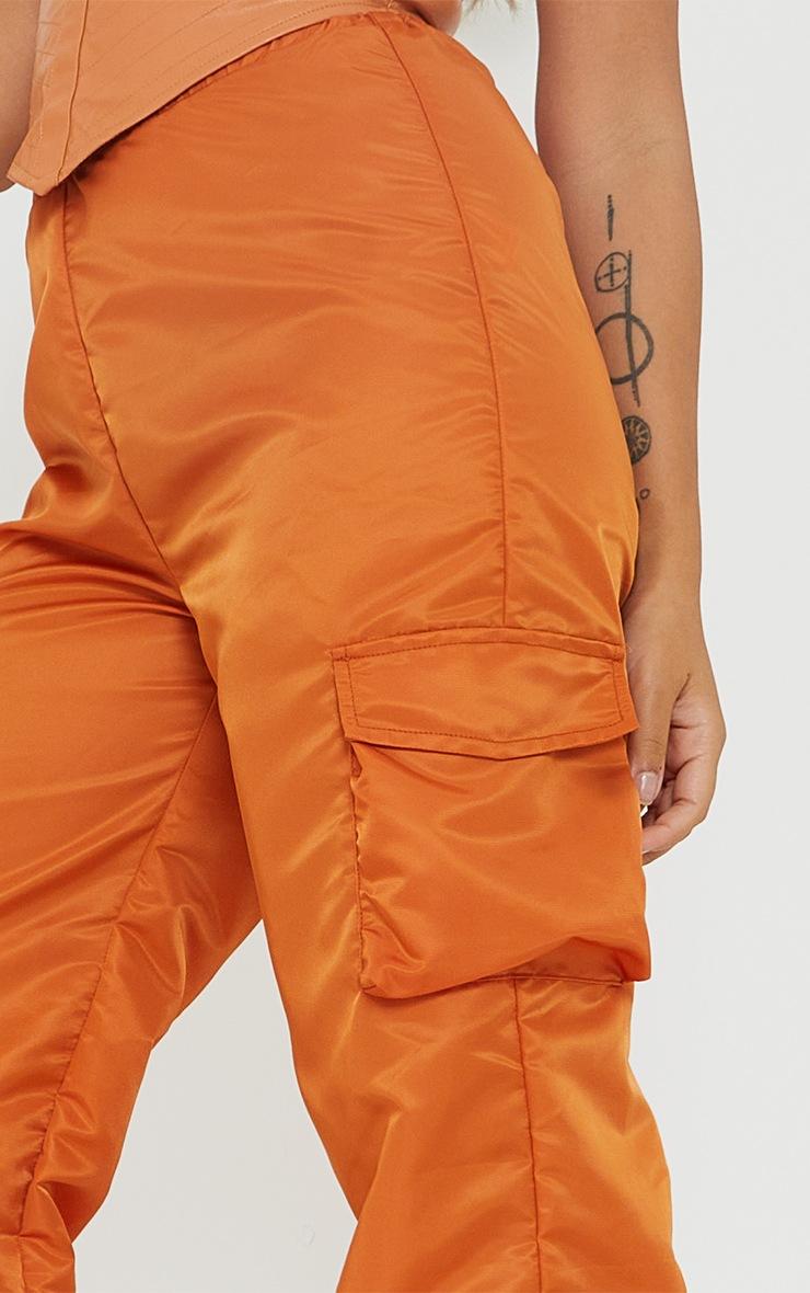 Petite Orange Dip Waist Cargo Pants 4