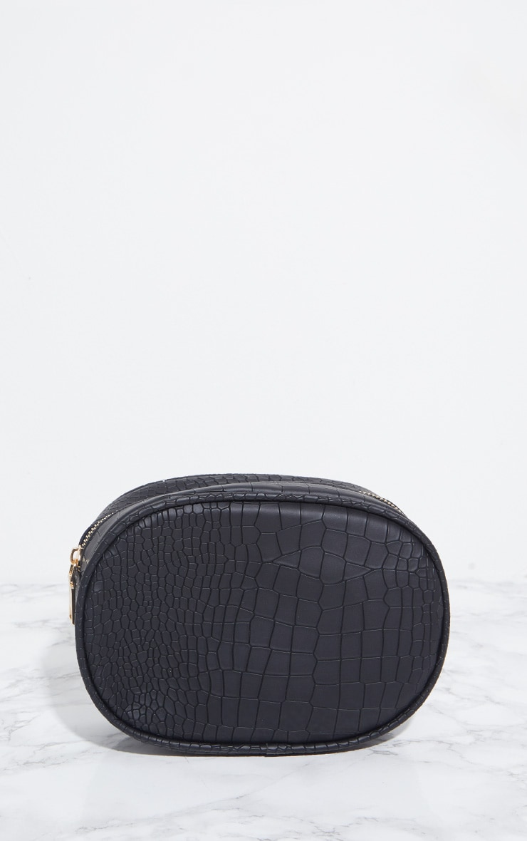 Black Croc Large Bum Bag 2