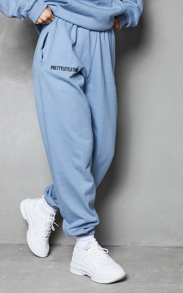PRETTYLITTLETHING Blue Steel Embroidered Slogan Joggers 2