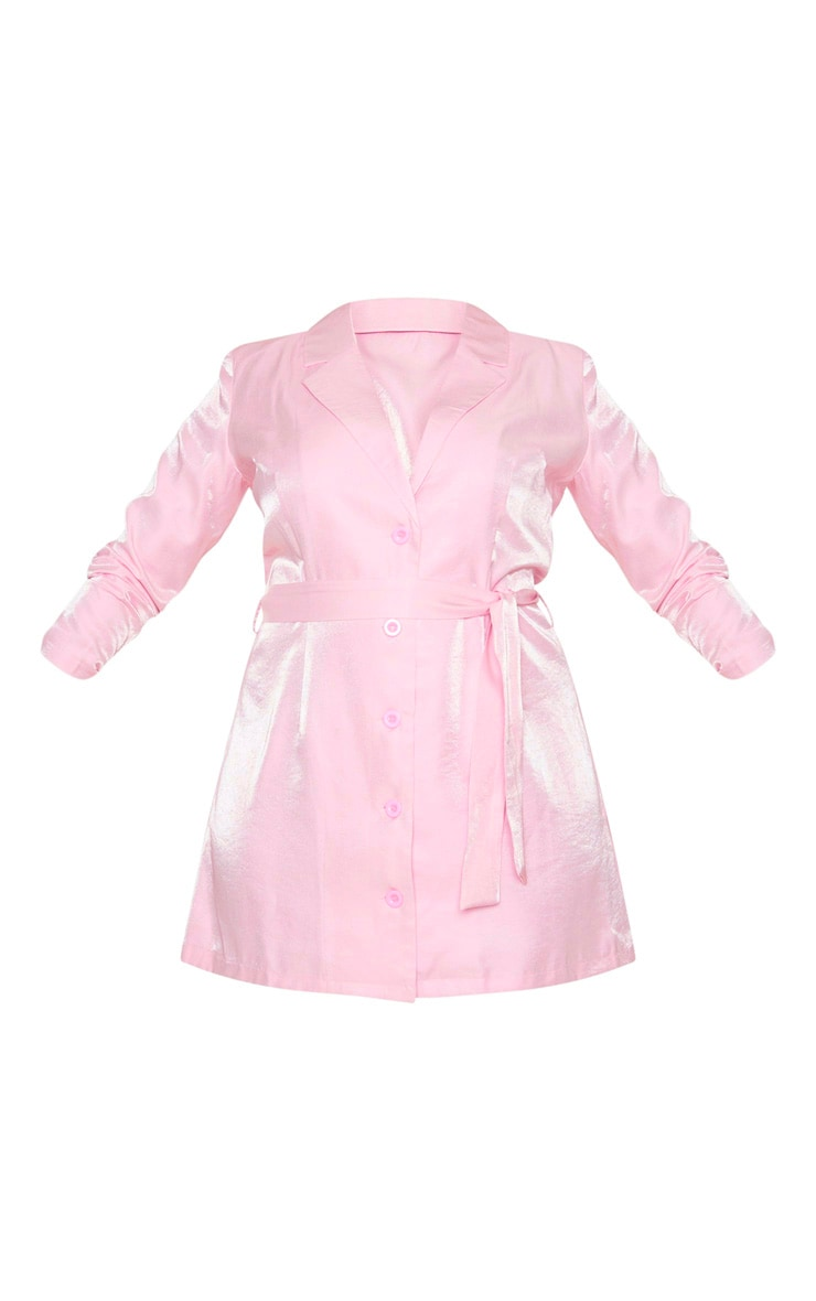 Plus Blush Shimmer Satin Tie Waist Blazer Dress 5