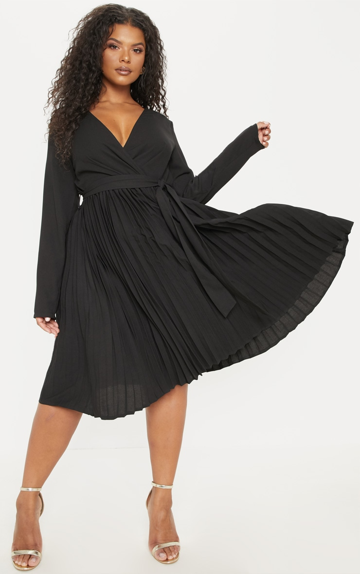 Plus Black Long Sleeve Pleated Midi Dress 4