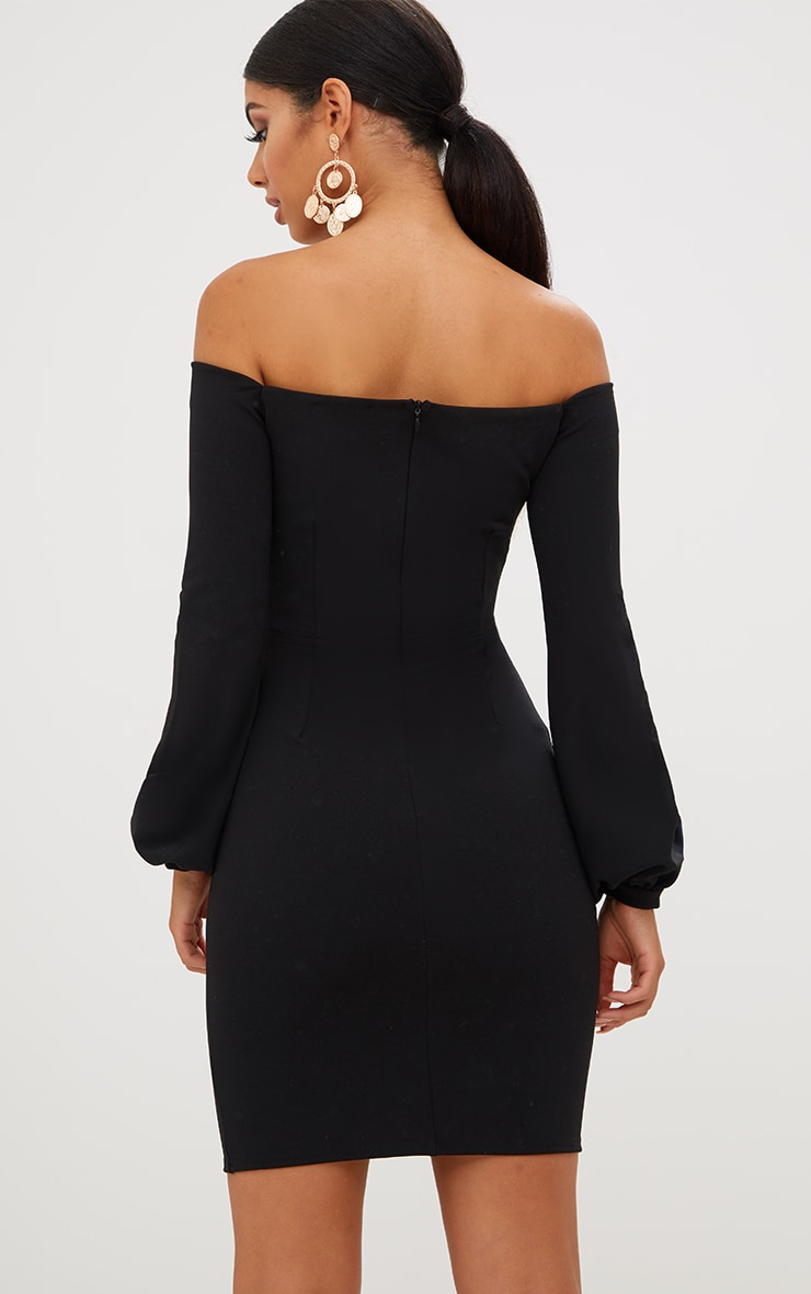 Black Balloon Sleeve Bardot Bodycon Dress Dresses