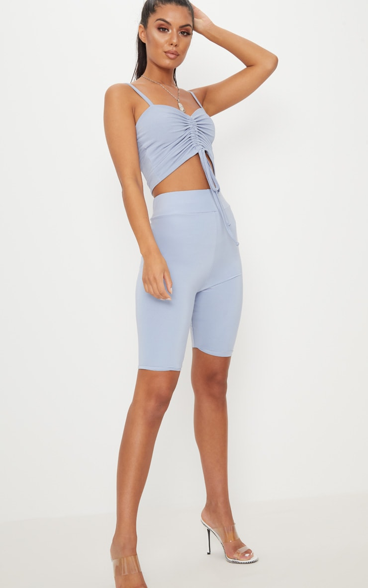 Baby Blue Ruched Front Strappy Crop Top 4