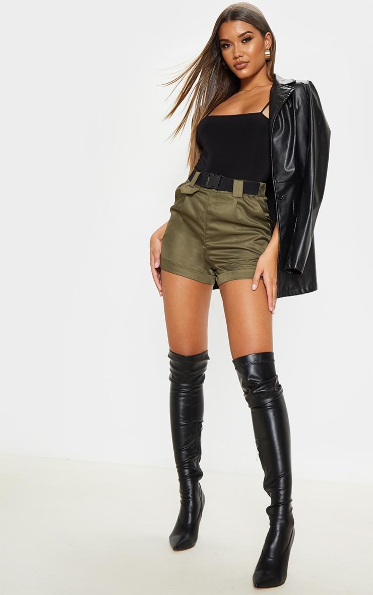 Olive Khaki Woven Belted Turn Up Hem Shorts 1