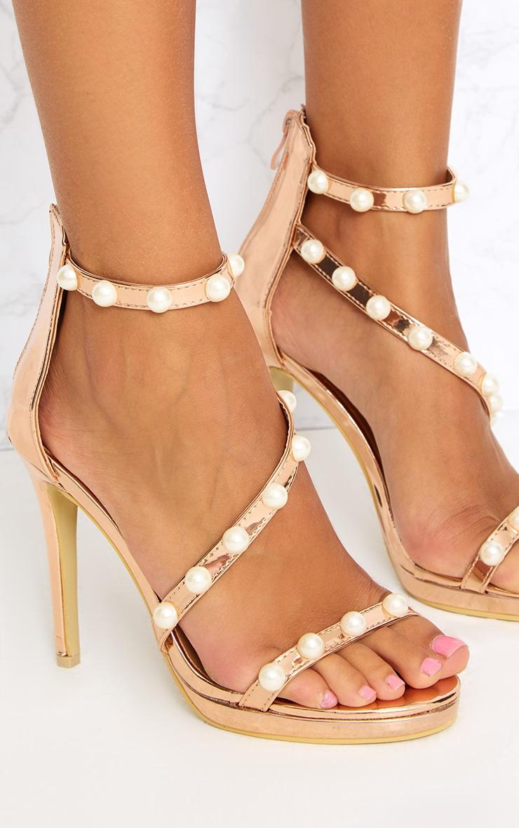 Rose Gold Pearl Triple Strap Heels 5