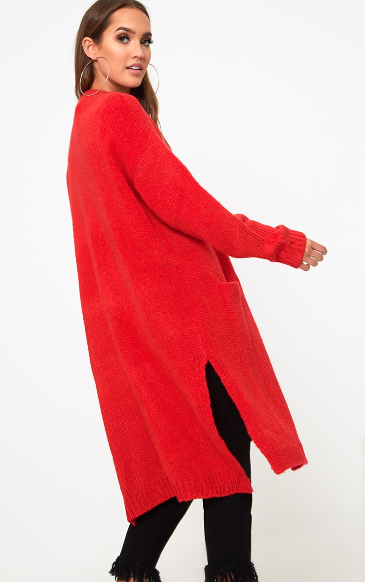 Red Super Chunky Long Line Cardigan 2