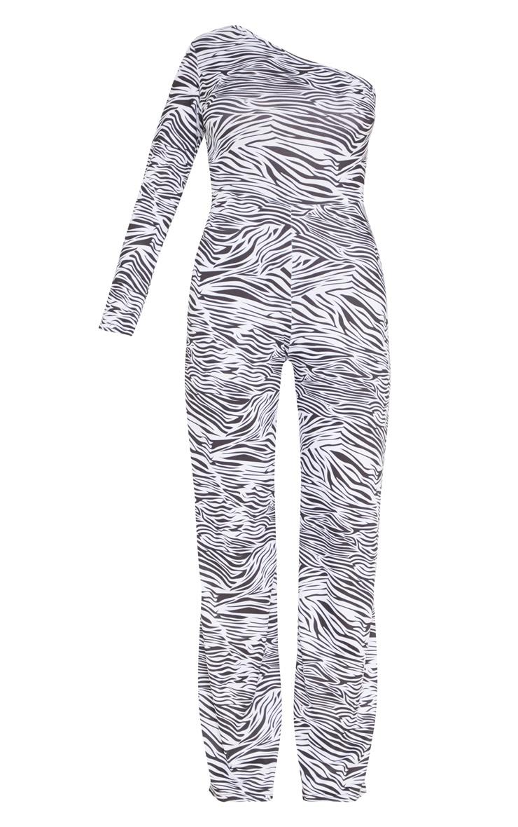 Petite White  Zebra Print One Shoulder Jumpsuit 3