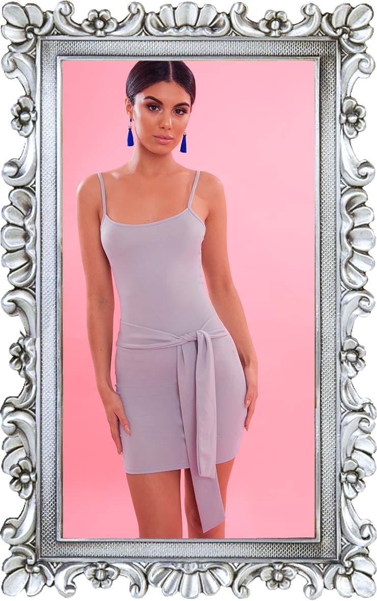Dove Grey Crepe Straight Neck Tie Front Bodycon Dress 1