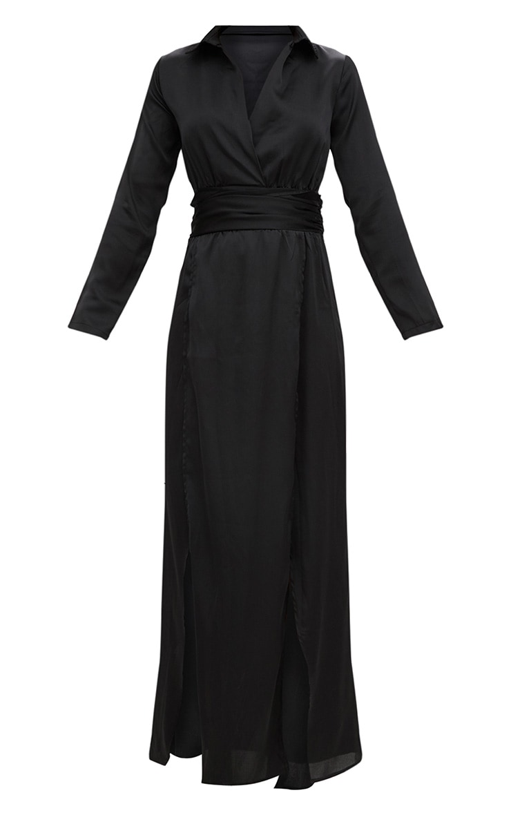 Black Long Sleeve Satin Belt Detail Maxi Dress 3