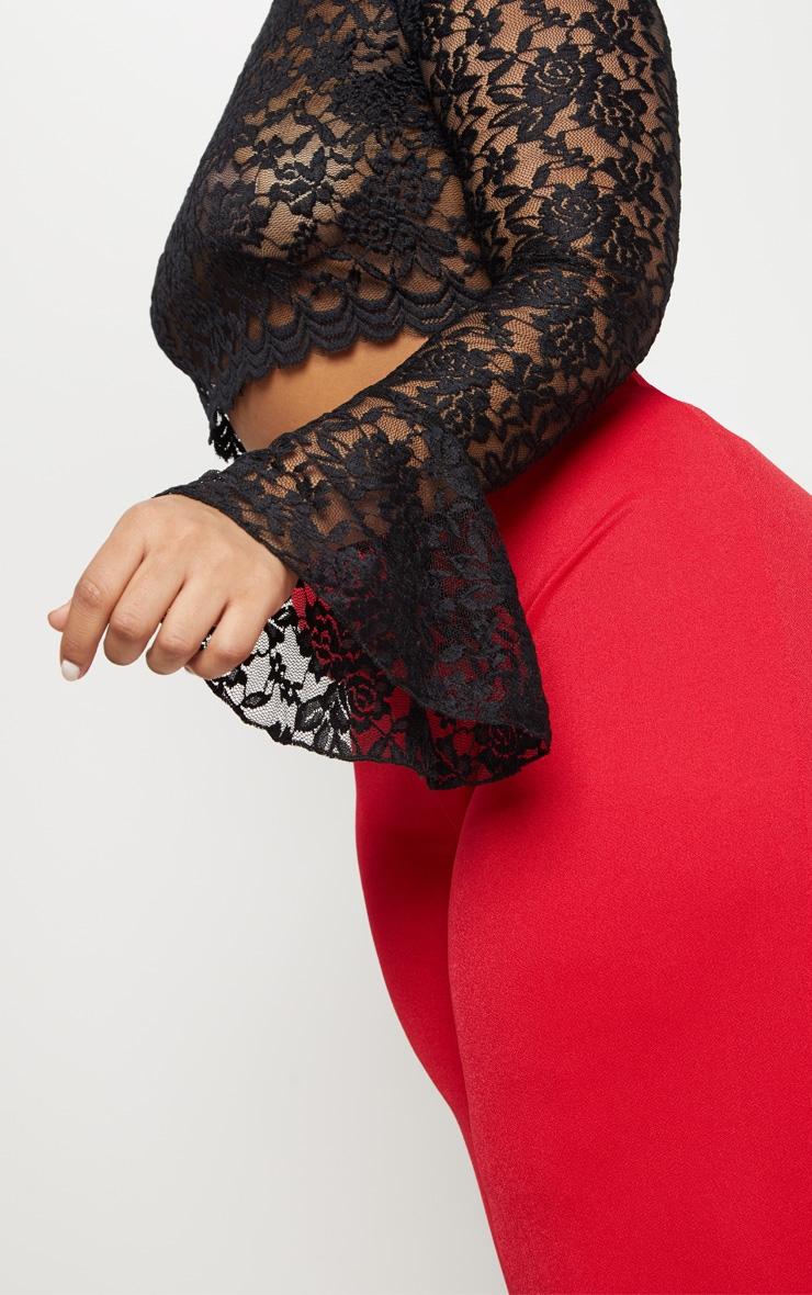 Plus Black Sheer Lace Crop Top 5