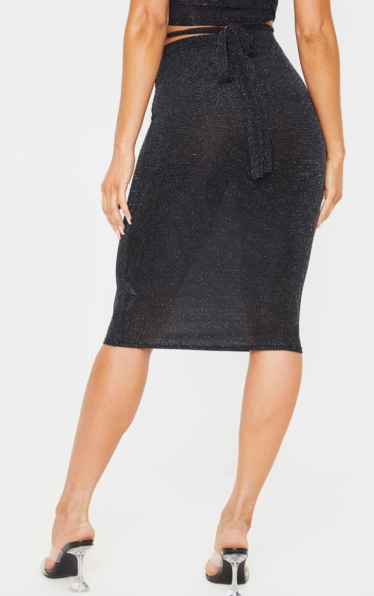 Black Textured Glitter Jersey Midi Skirt 4