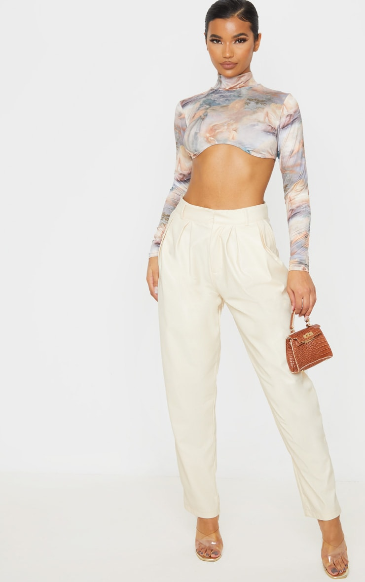 Multi Renaissance High Neck Curve Hem Crop Top 4