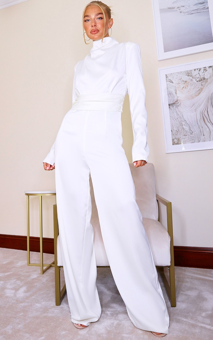 White Satin High Neck Long Sleeve Jumpsuit 3