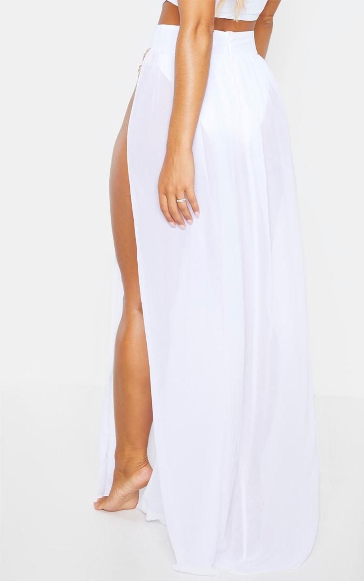 White Chiffon Diamante Jewel Beach Skirt 4