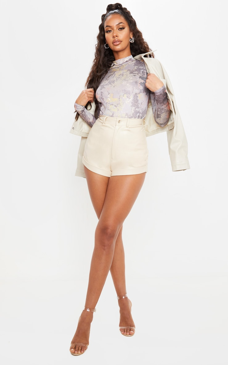 Cream Faux Leather Turn Up Hem Detail Shorts 5