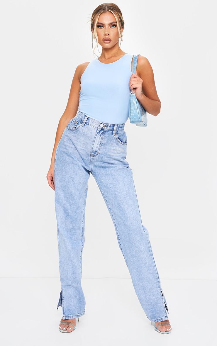 Blue Slinky Racer Sleeveless Bodysuit 3