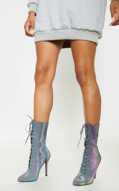 Reflective Rainbow Lace Up Sock Boot