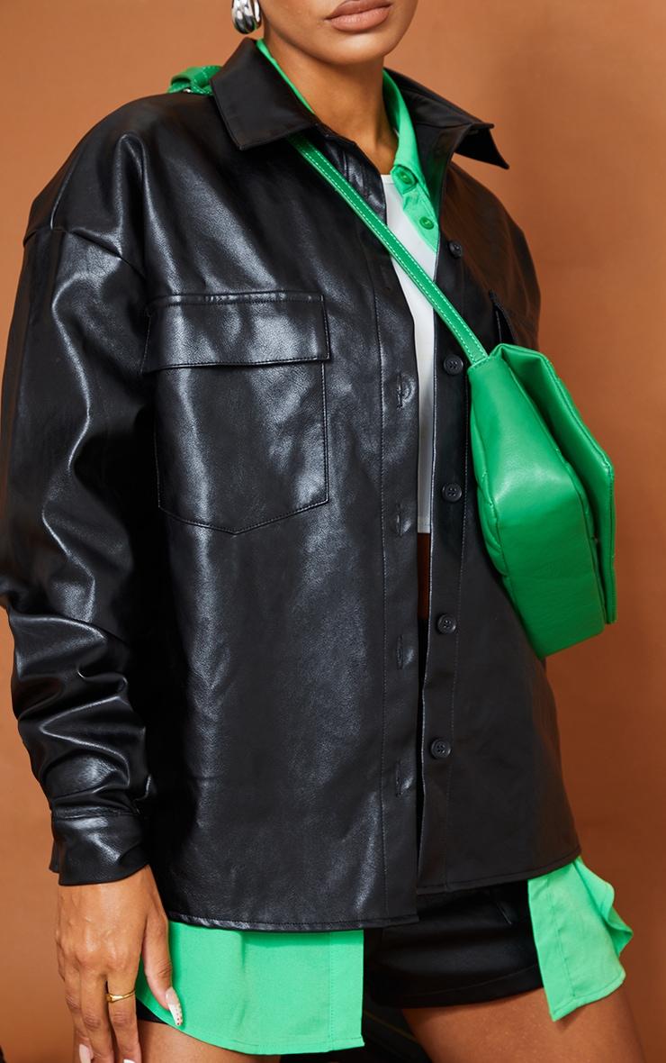Black Faux Leather Pocket Detail Shirt 4