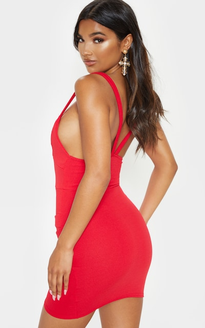 Red Double Strap Wrap Skirt Bodycon Dress