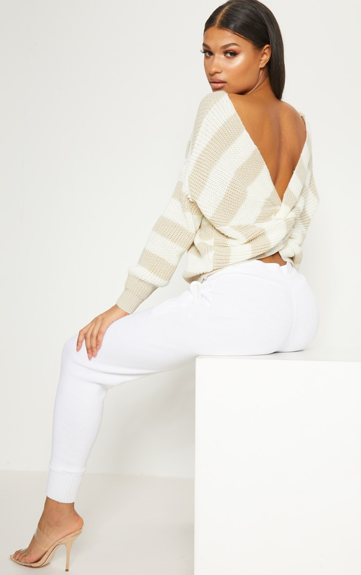 Stone Stripe Twist Back Jumper 2