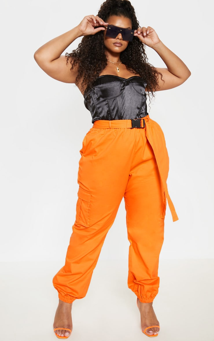 Plus Orange Utility Buckle Belt Joggers 1