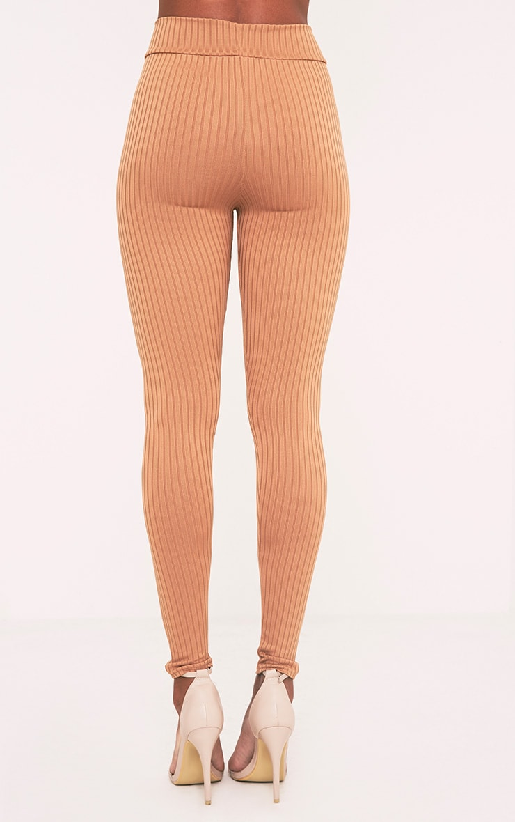 Harlie Camel Ribbed High Waisted Leggings 5