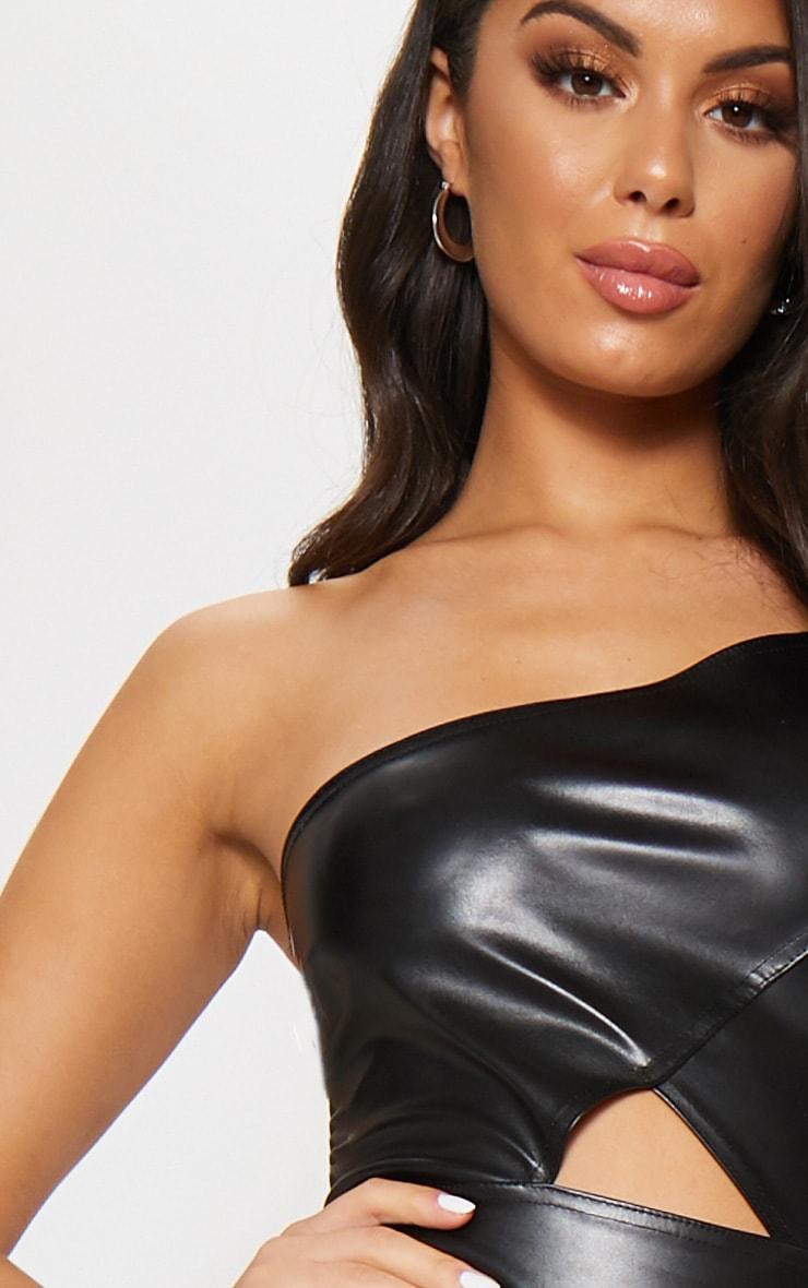 Black Faux Leather One Shoulder Cut Out Midi Dress 5