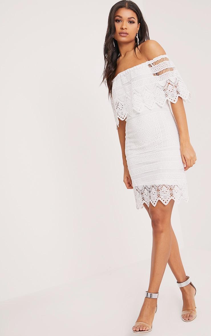 Nora White Lace Bardot Midi Dress 4