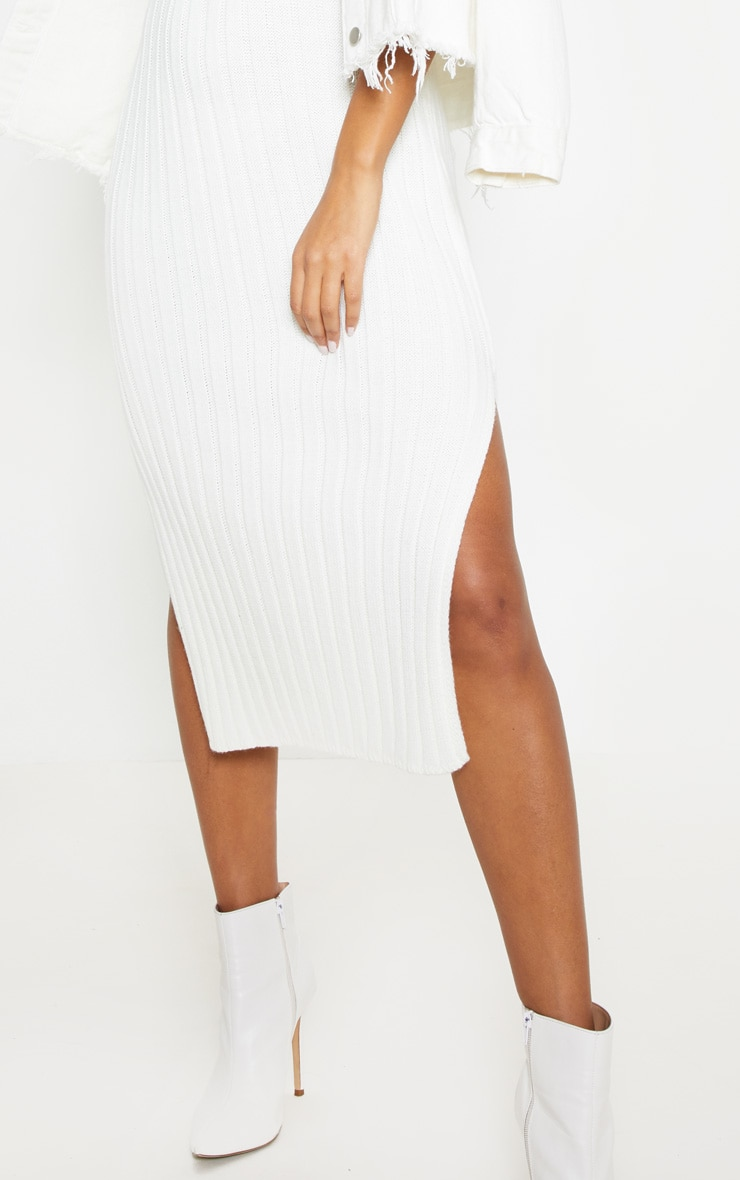 Cream Ribbed V Neck Midi Knitted Dress 5