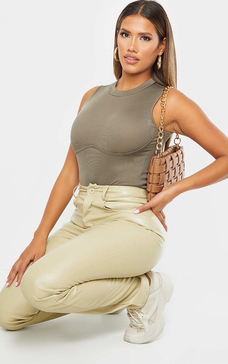 Shape Khaki Rib High Neck Underbust Detail Bodysuit 3