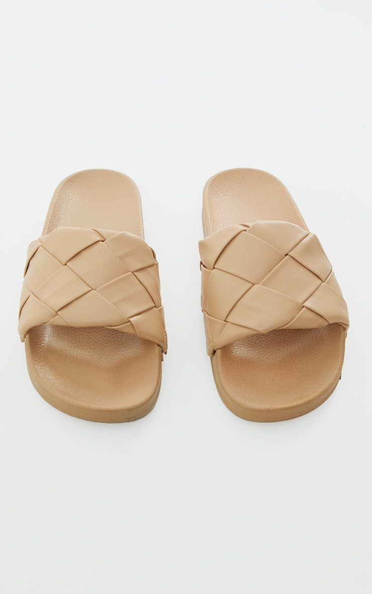 Taupe Platted Woven Pu Sliders 3