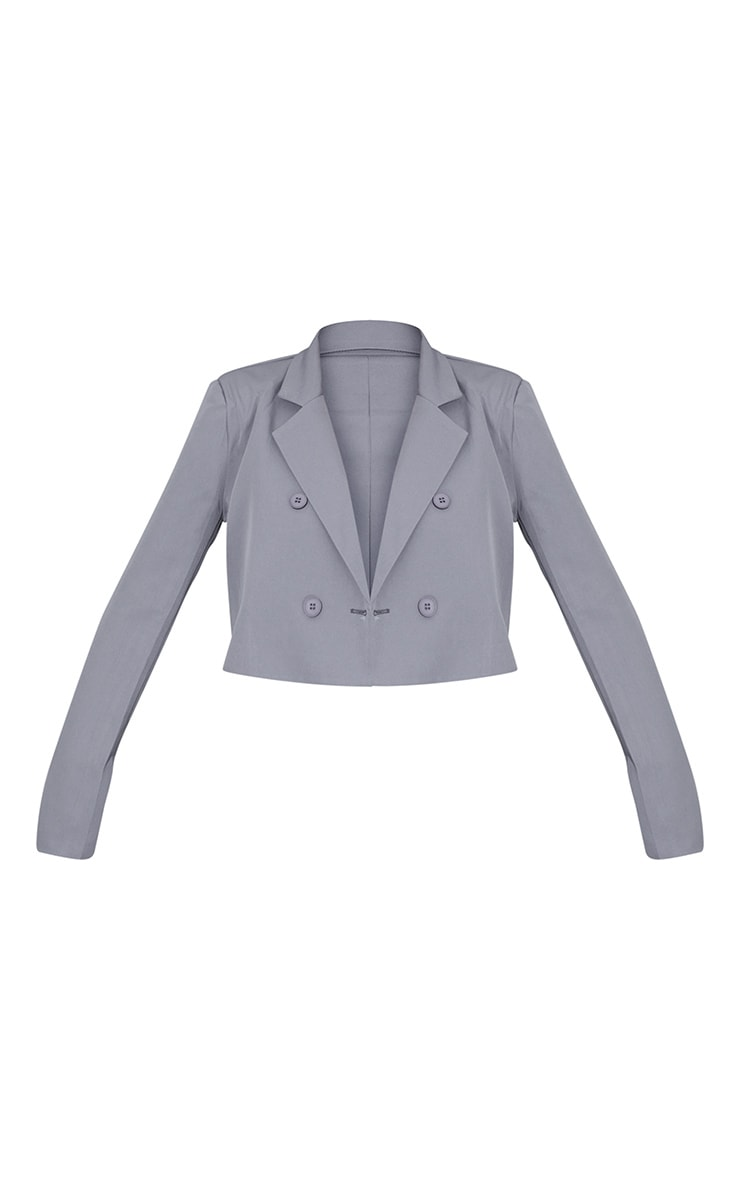Grey Woven Double Breast Cropped Oversized Blazer 5
