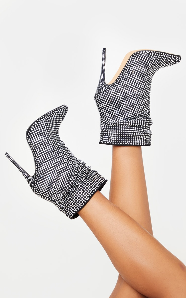 Black Diamante Slouch Ankle Boot 1