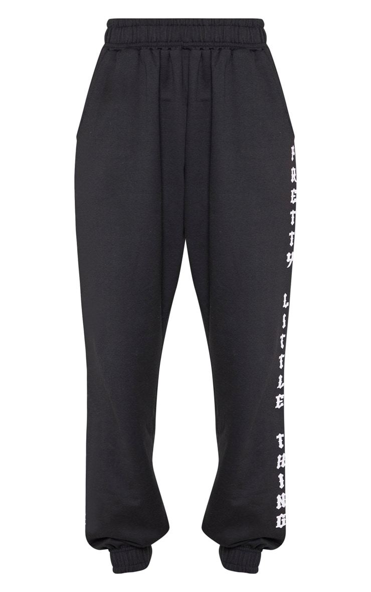 PRETTYLITTLETHING Black Slogan Side Joggers 3