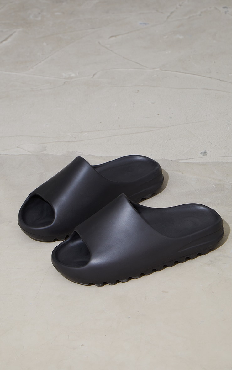 Black Rubber Ribbed Sole Sliders 3