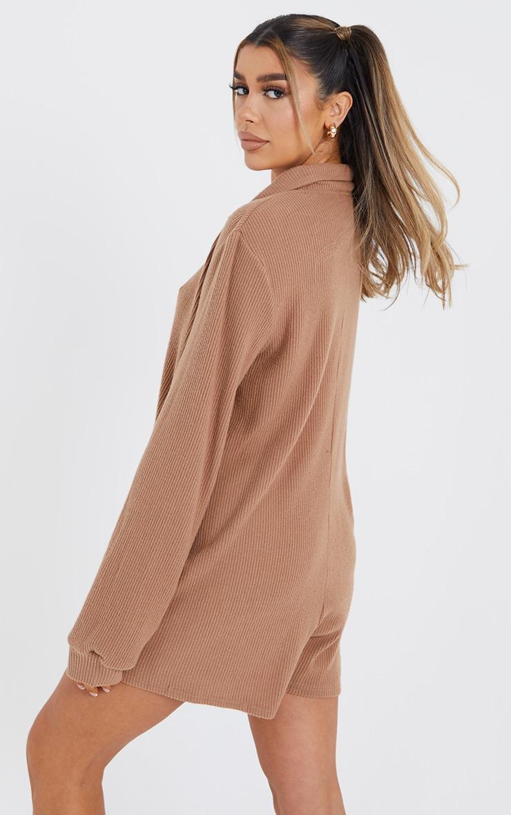 Camel Brushed Rib Oversized Shirt Romper 2