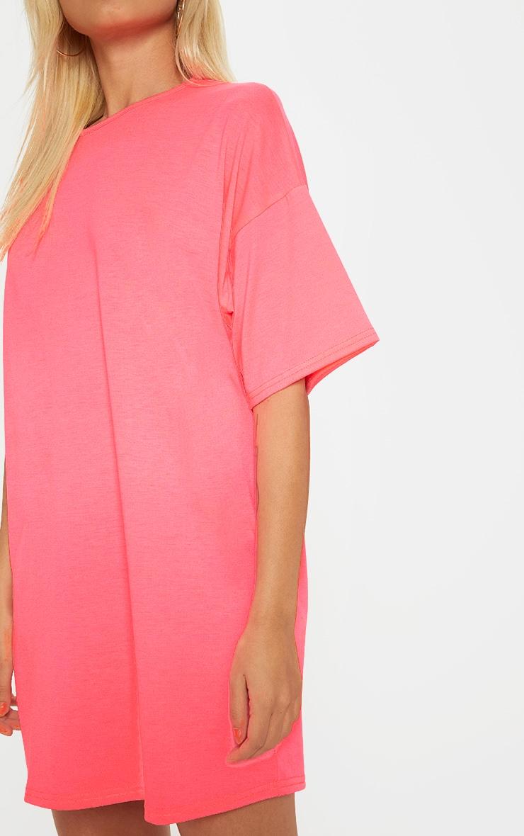 Petite Neon Pink  Oversized T Shirt Dress 5