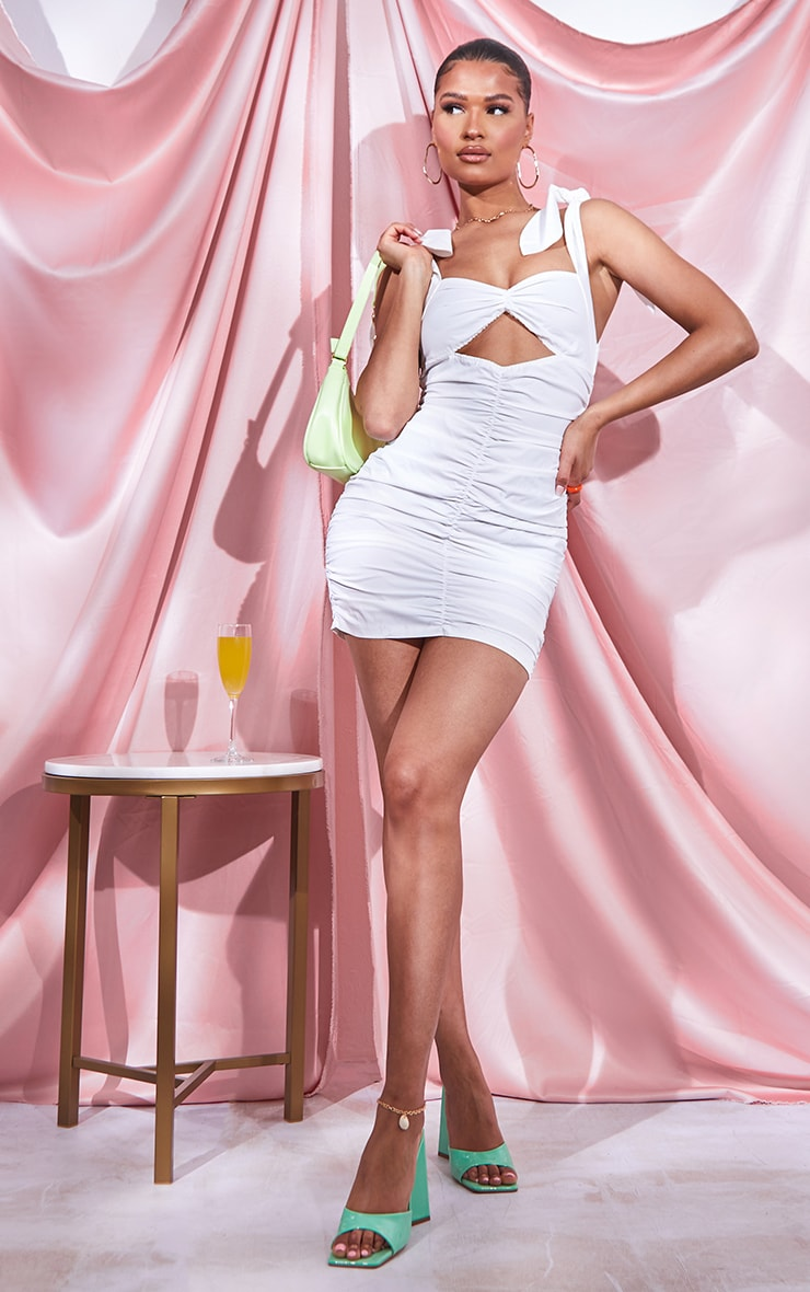 White Woven Ruched Tie Strap Bodycon Dress