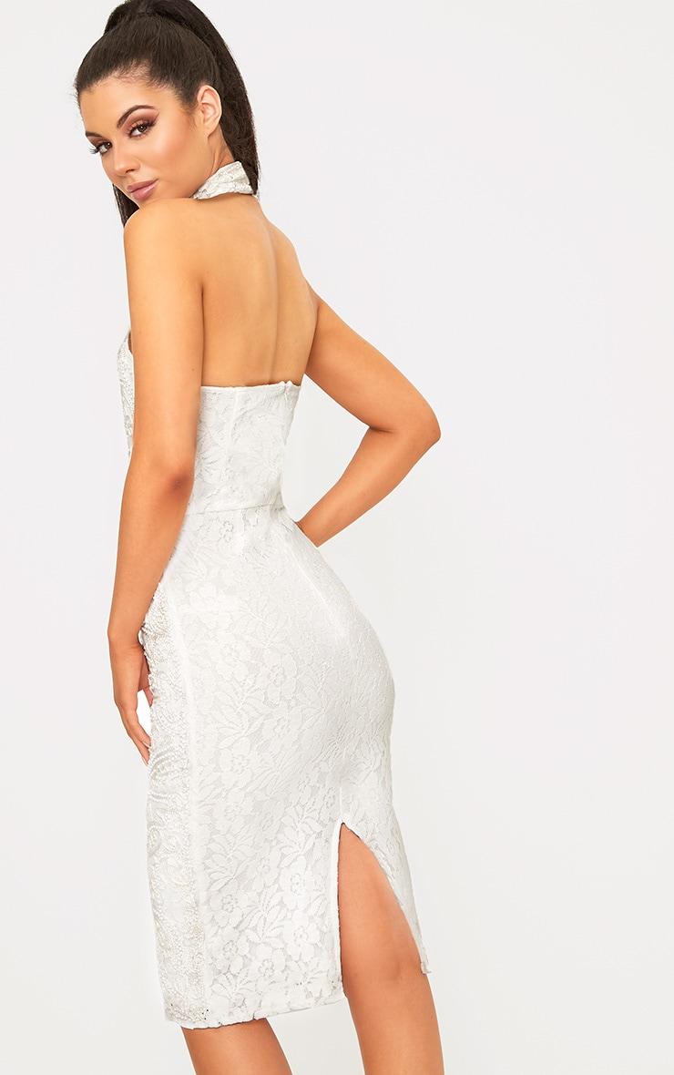 Celene White Halterneck Beaded Lace Midi Dress  2
