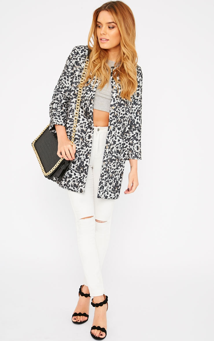 Orianna Grey Leopard Collarless Coat  3