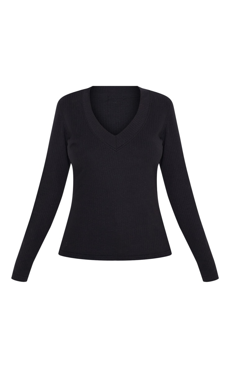 Black Structured Rib V Neck Long Sleeve Top 3