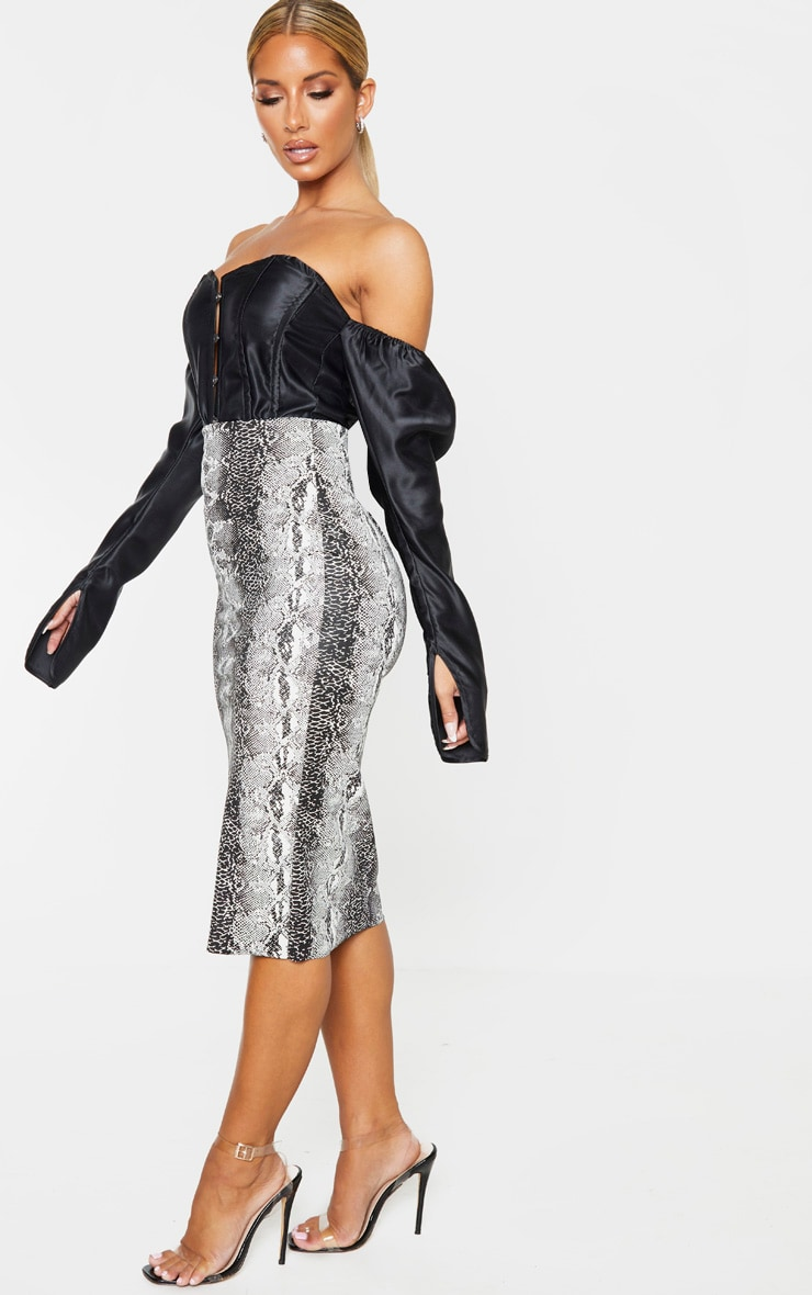 Grey Faux Leather Snake Print Midi Skirt 5