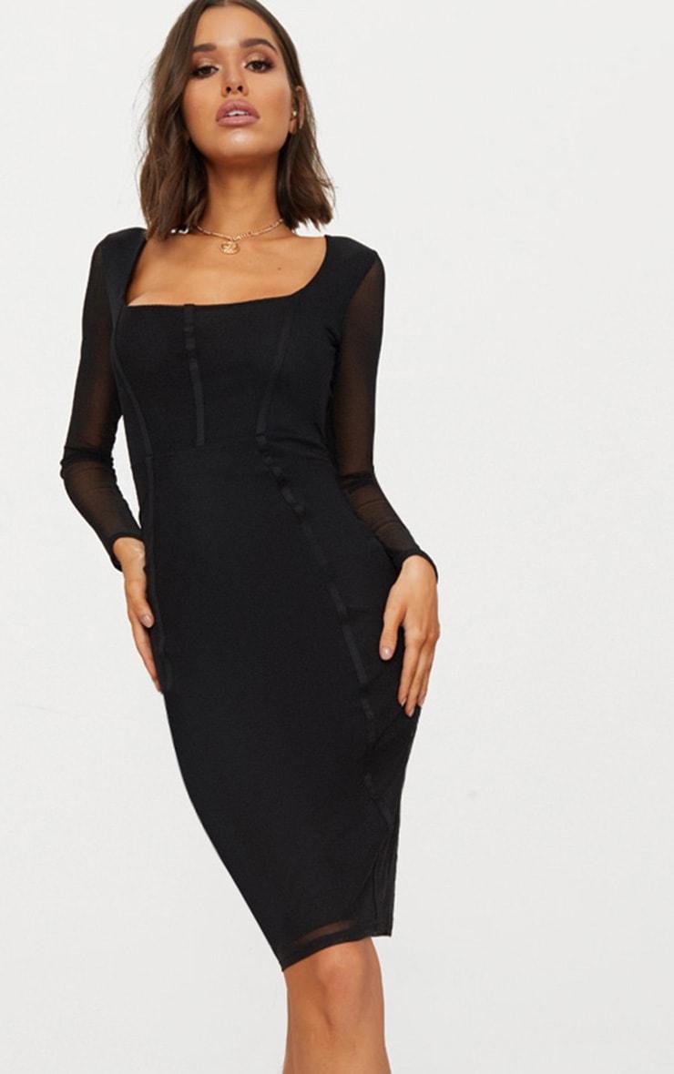 Black Mesh Square Neck Panelled Midi Dress 1