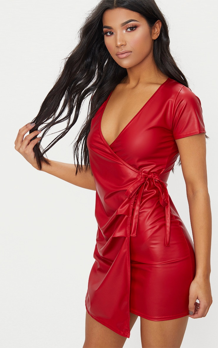 Red Short Sleeve Wrap Over PU Bodycon Dress 1